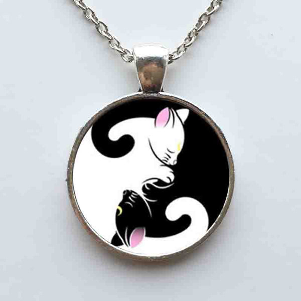 Yin Yang Cats Pendant Necklace
