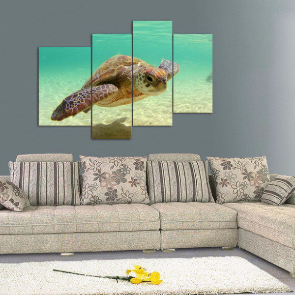 Sea Turtle Canvas Painting - 4 Panels