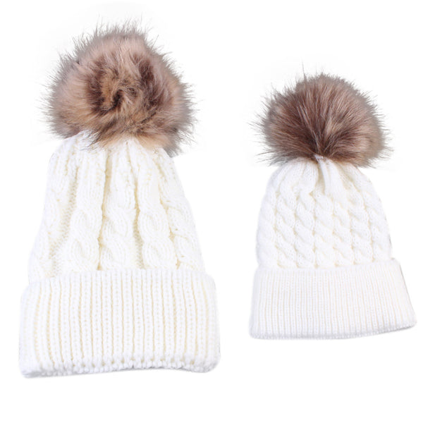 Mommy   Baby Matching Pom Pom Hats Set – Fancy Collective a86a1f5d5c8