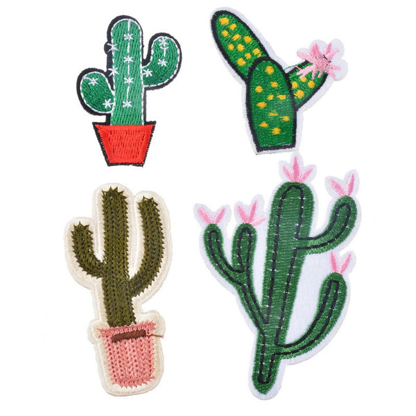 Grit™ Cactus Iron-On Embroidered Appliques (4 Pieces)
