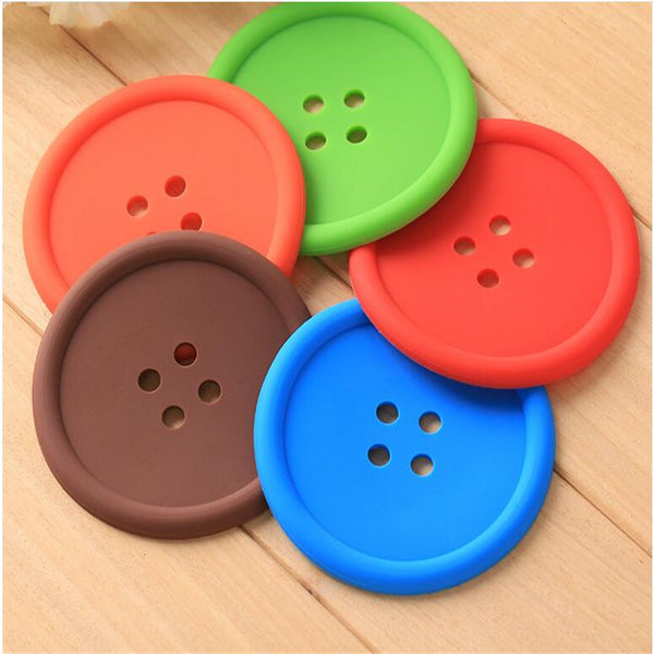 Multicolor Silicone Button Coaster Set (5 Pieces)