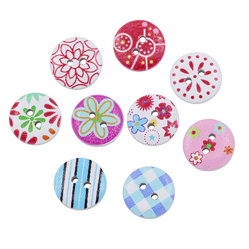Mixed Painted Buttons (100 Pieces)