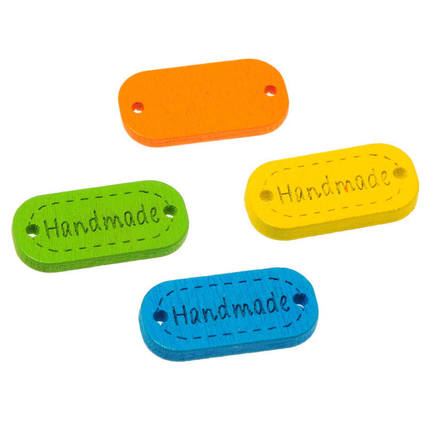 Rainbow Handmade Rectangle Buttons (20 Pieces)