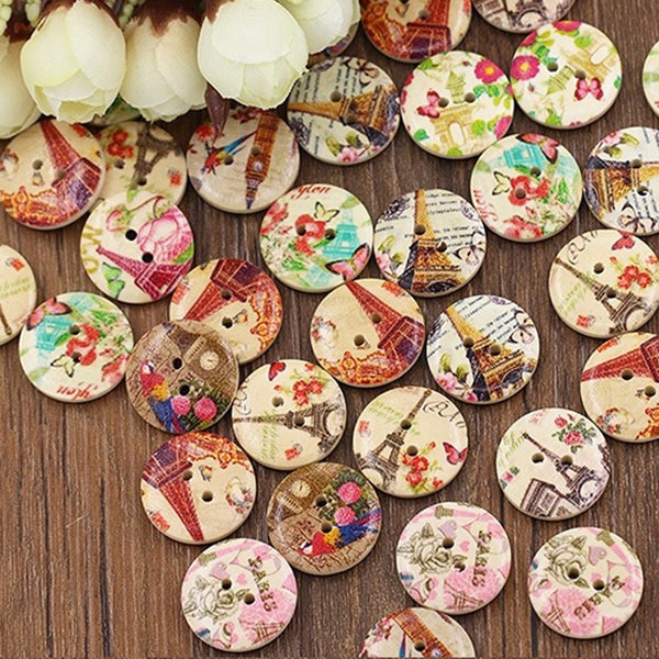 Eiffel Tower Flower Buttons (50 Pieces)