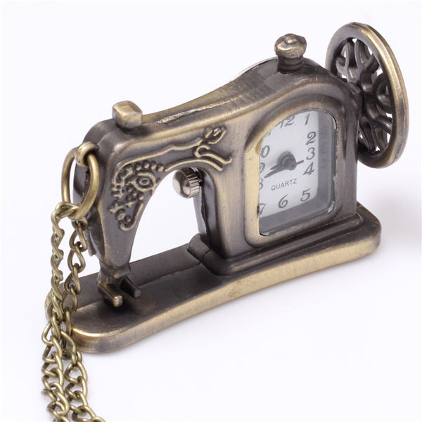 Vintage Sewing Machine Bronze Pocket Watch