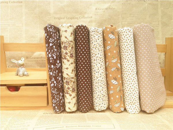 "7-Piece Brown Series Patchwork Cotton Fabric (9.8"" x 9.8"" / 25cm x 25cm)"