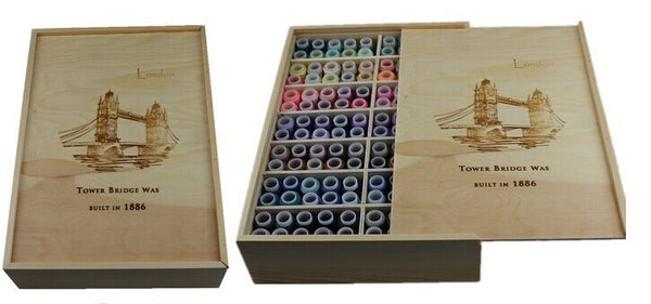 140 Color Thread Pine Wood Gift Box