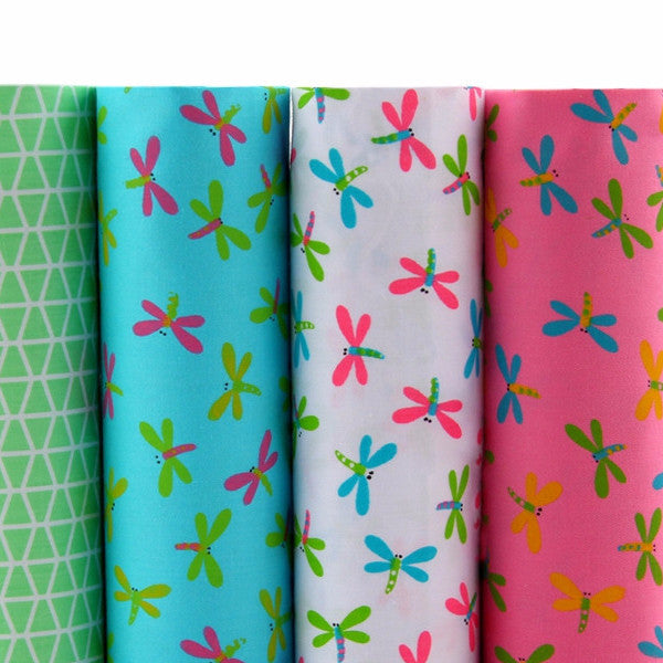 "4-Piece Dragonfly Patchwork Cotton Fabric (15.7"" x 19.6"" / 40cm x 50cm)"