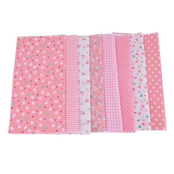 "8-Piece Light Pink Floral Cotton Fabric (9.8"" x 9.8"" / 25cm x 25cm)"