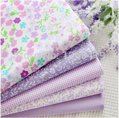 "5-Piece Purple Print Cotton Fabric (19.7"" x 15.74"")"