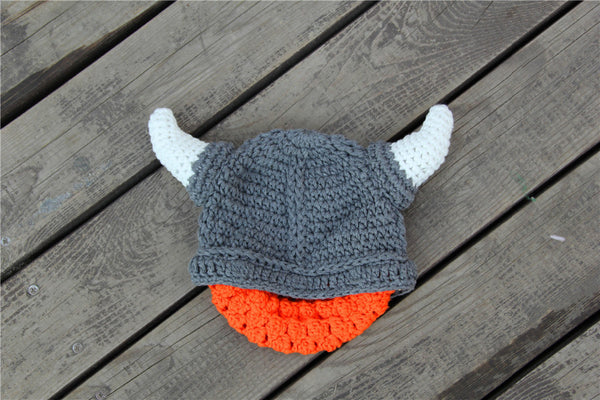 Crochet Kids Vikings Horn Hat with Beard