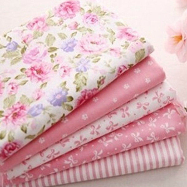 "5-Piece Sweet Pink Printed Cotton Fabric (19.7"" x 15.74"")"