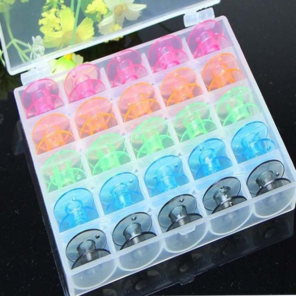 Rainbow Sewing Plastic Bobbins (25-Piece)