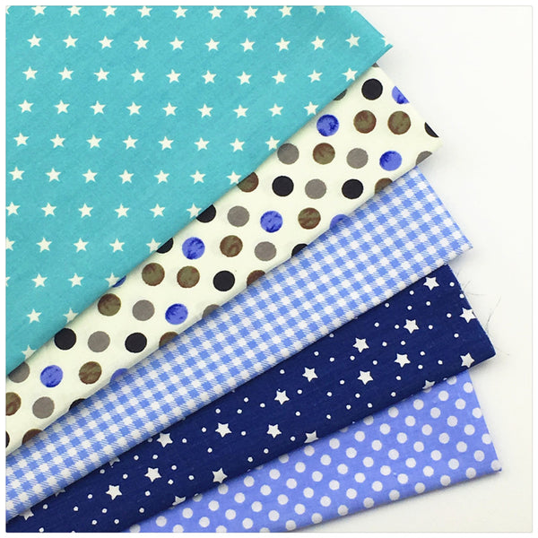 "5-Piece Blue Dot Star Printed Cotton Fabric (19.7"" x 15.74"")"