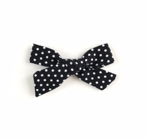 Classic Tie Bow- Black and White Polka Dot