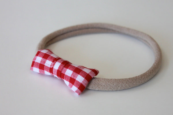 Peewee Bow - Red Gingham