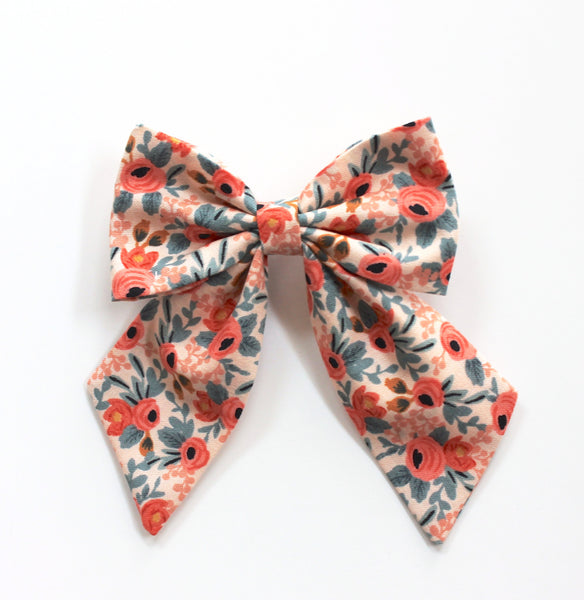 Little Miss Sailor Bow - Peach Floral