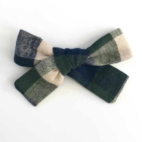Little Miss Bow - Green Flannel Plaid