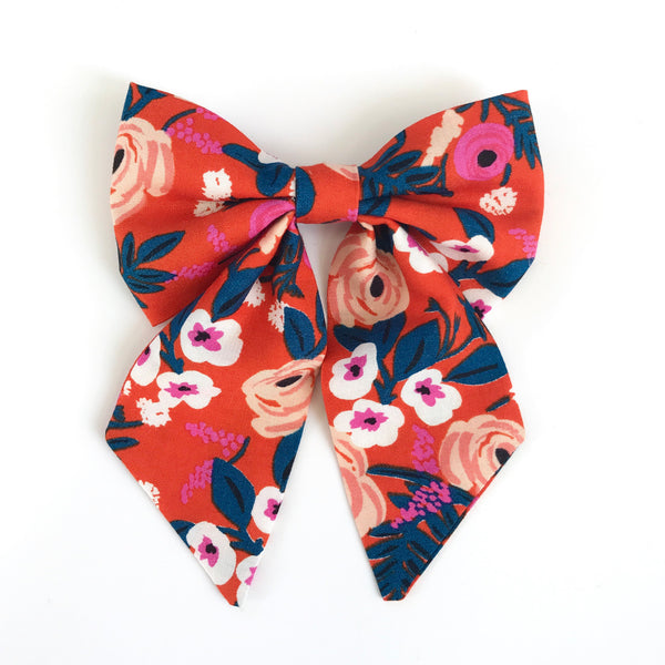 Little Miss Sailor Bow - Red Floral