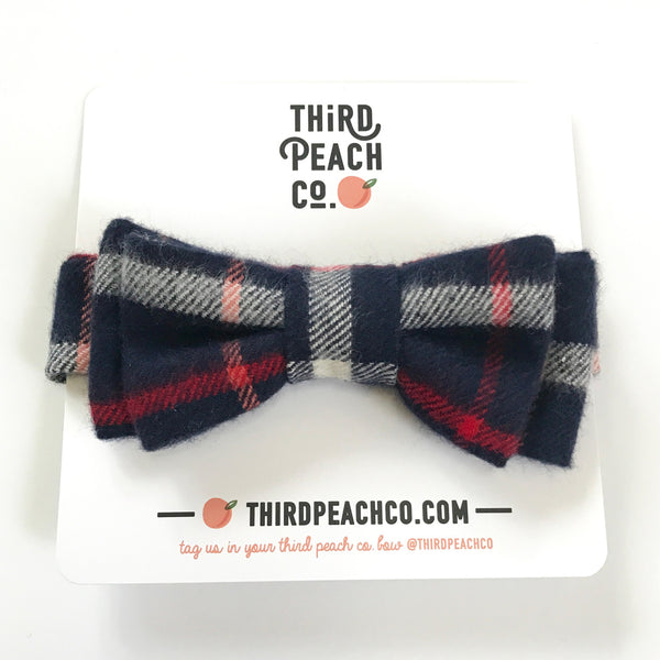 Bow Tie - Navy Flannel Plaid