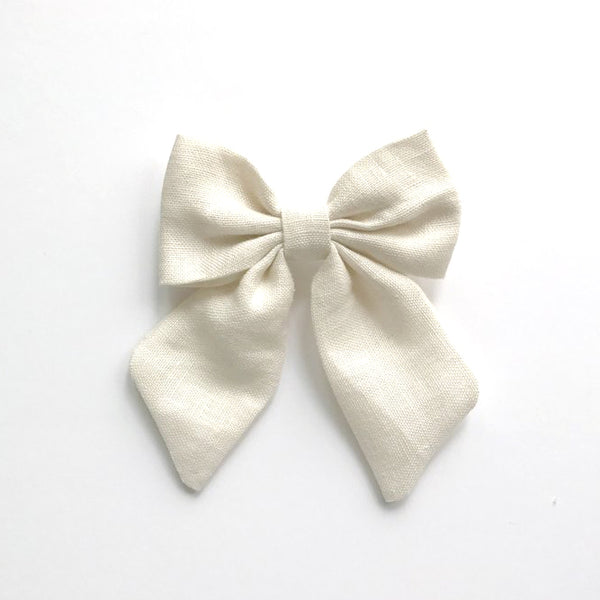 Little Miss Sailor Bow - Ivory Linen