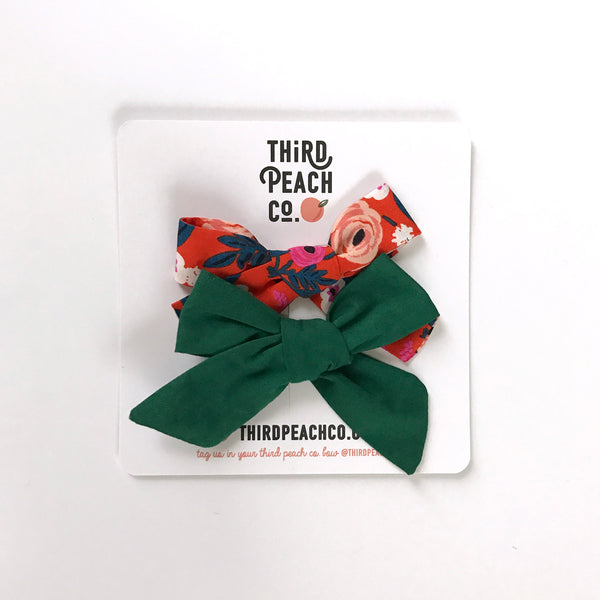 2 Bow Set - Red Floral & Emerald
