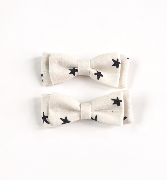 Mini Pigtails- Black and White Stars