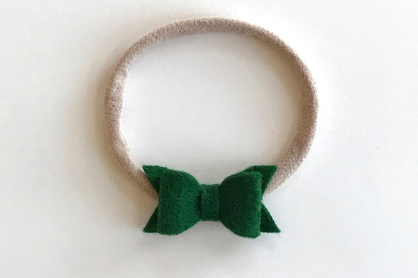 Emerald Mini Felt Bow