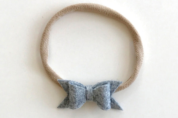 Heathered Grey Mini Felt Bow