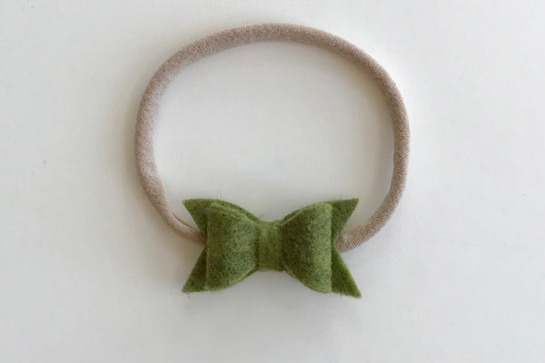 Moss Green Mini Felt Bow