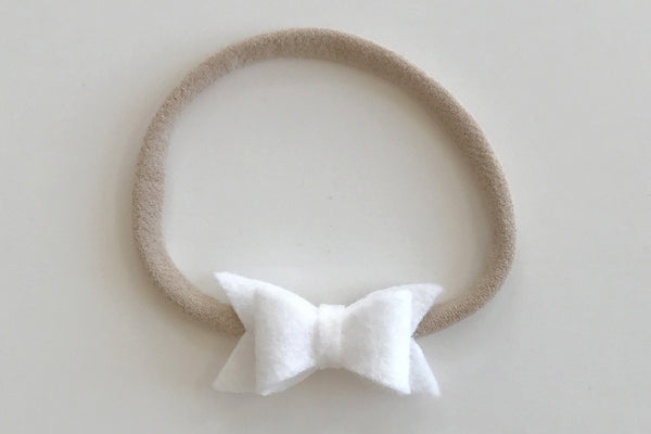 White Mini Felt Bow