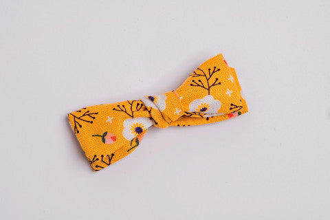 Flat Knot Bow- Yellow Floral
