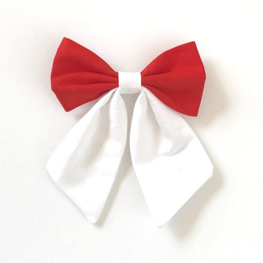 Little Miss Sailor Bow - Red and White