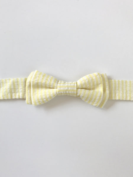Bow Tie - Yellow and White Seersucker