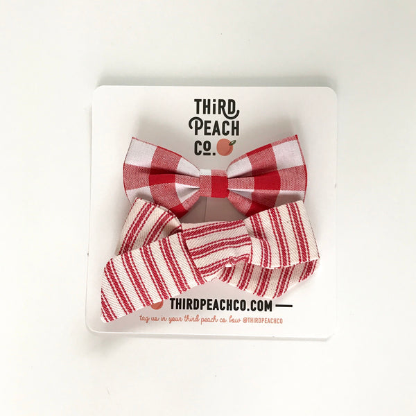 2 Bow Set- Red Stripe and Red Gingham