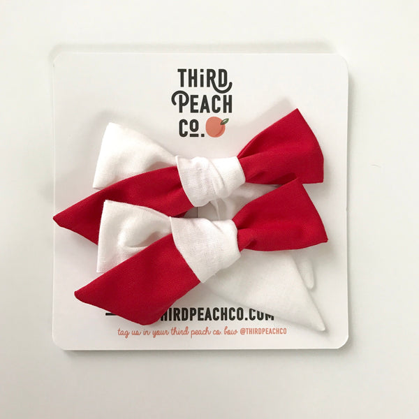 2 Bow Set - Red and White 2-tone Pigtail Set