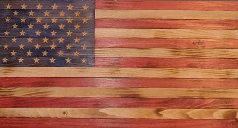 31 x 16 Rustic American Flag - Red, Natural & Blue