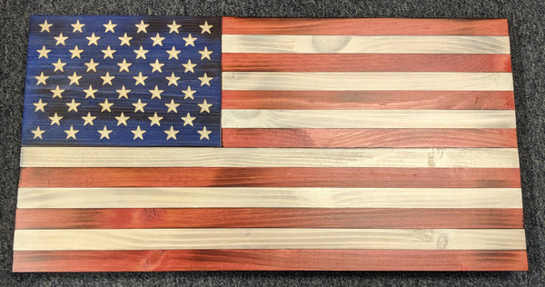 25 x 13 Rustic American Flag - Red, White & Blue