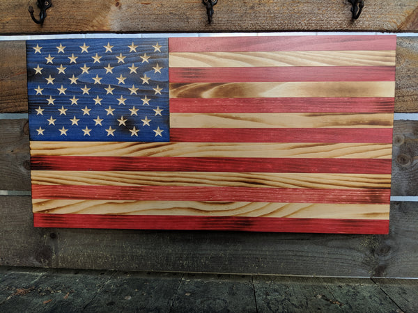 25 x 13 Rustic American Flag - Red, Natural & Blue