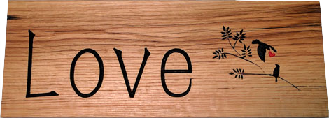 Rustic Wood Sign - Love Birds 2