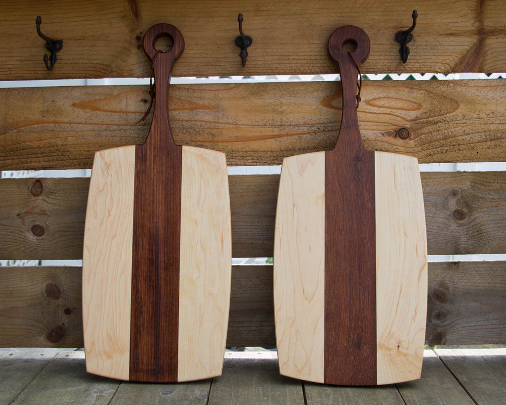 Paddle Style Cutting Board - Maple and Jatoba