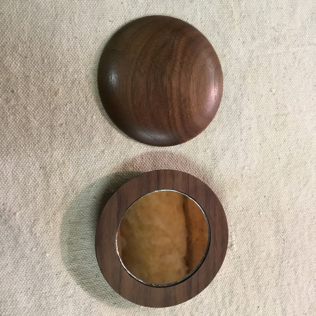 Pocket Mirror - Hand Turned - Walnut