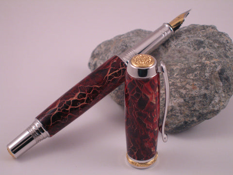 Jr. Statesman II - Red Prickly Pear Cactus - Fountain Pen