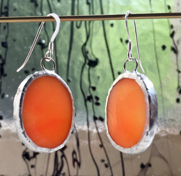Glas øreringe Orange // Glass Earrings Orange #5