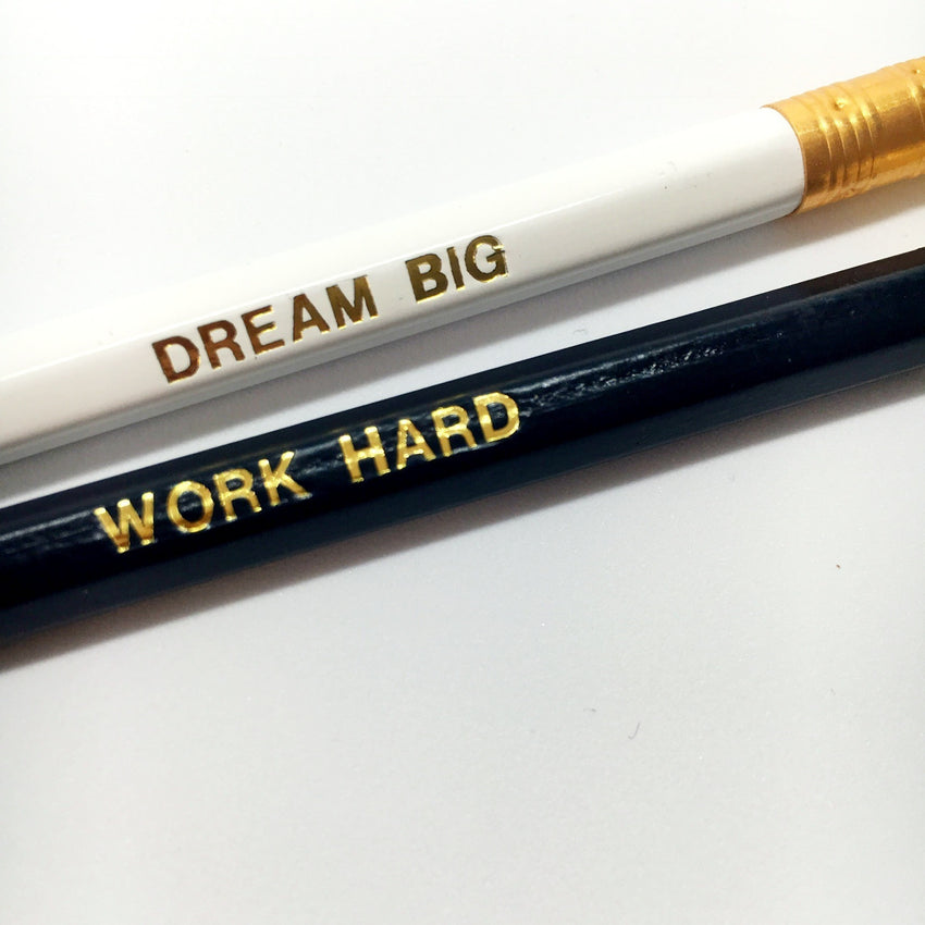 Pencils, set of 2 - Work hard, Dream Big - Wang's Wonderful World