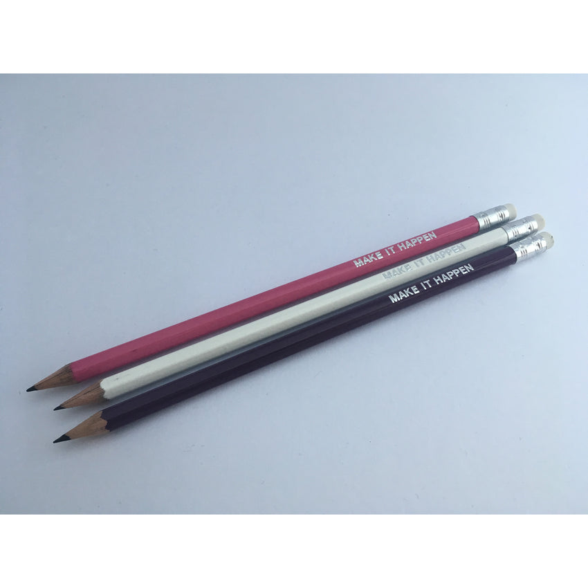 Pencils, set of 3 - white, pink, purple - make it happen