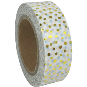 Washi tape, gold polkadots