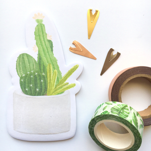 Post it notes, Cactus in concrete pot - Wang's Wonderful World