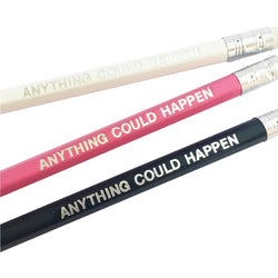 Pencils, set of 3 - white, pink, black - Anything could happen