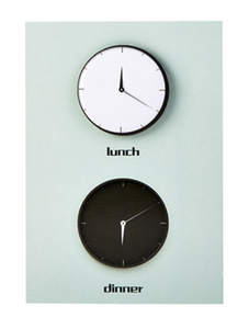 Post it notes, clocks in black and white - Wang's Wonderful World